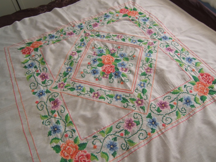 cross stitch lap quilt top, just finished, now I have to hand quilt it.....................