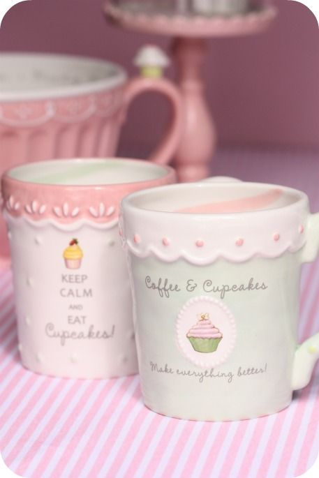 """Cute cupcake mugs from Grasslands Road  """"Keep Calm and Eat Cupcakes!"""" """"Coffee & Cupcakes Make Everything Better!"""" #Ceramic #SweetSoiree #GrasslandsRoad"""
