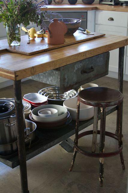 butcher block and galvanized steel vintage industrial kitchen island