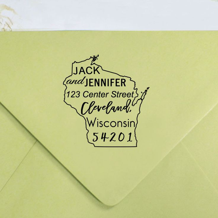 how to return address wedding envelopes%0A Custom Wisconsin State Map Rubber Stamp  Custom Return Address Stamp   Calligraphy Address Stamp
