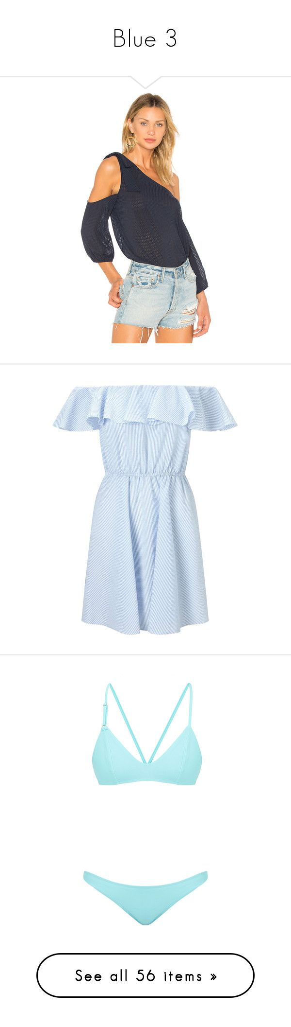 """""""Blue 3"""" by faeryrain ❤ liked on Polyvore featuring tops, fashion tops, one shoulder tops, tie knot top, tie top, elastic top, bcbgeneration, dresses, blue and petite"""