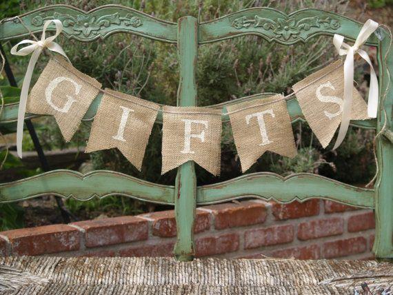 Gifts Burlap Banner Wedding Sign