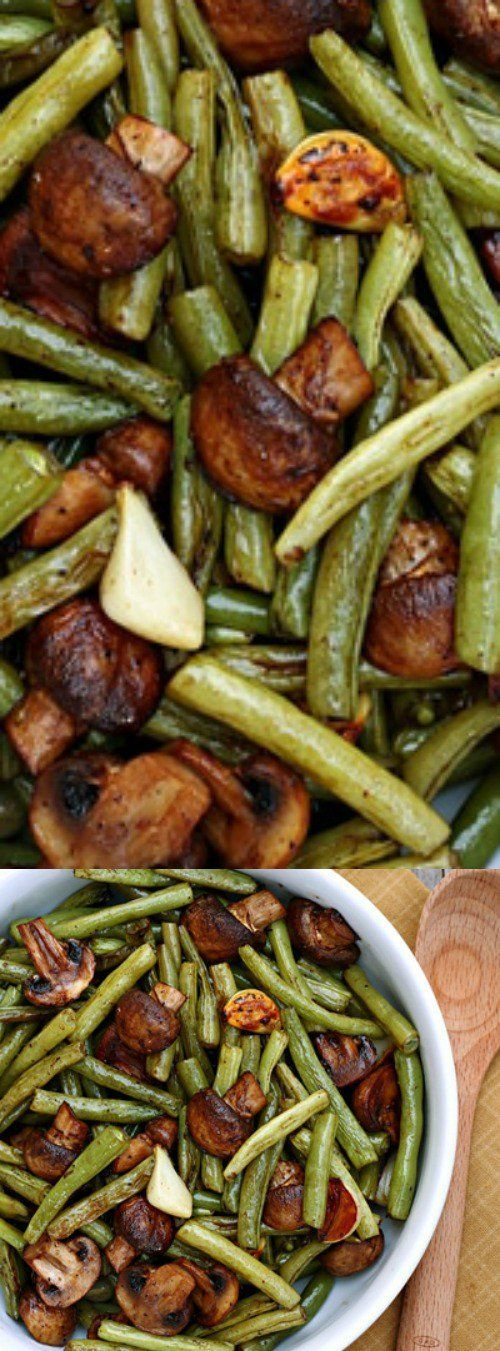 These Balsamic Garlic Roasted Green Beans and Mushrooms from Let's Dish are the most delicious way to serve your veggies. Balsamic and whole garlic cloves take the flavor to the next level!