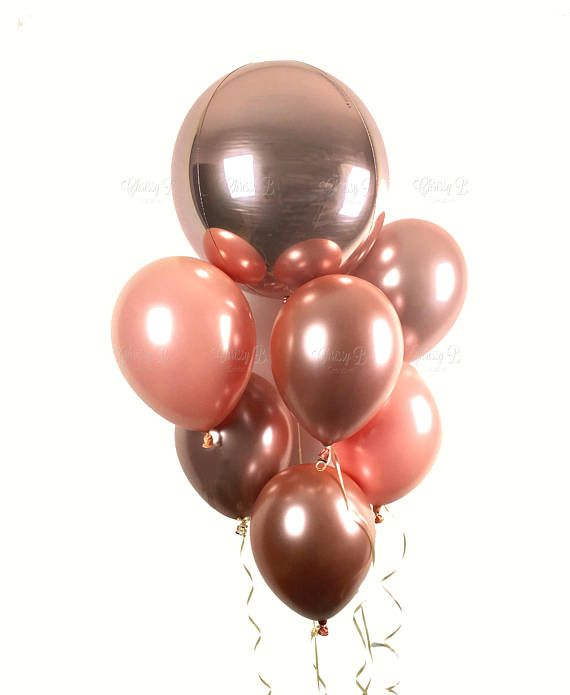 ROSE GOLD Balloon Bouquet Rose Gold Orbz Balloon with 6