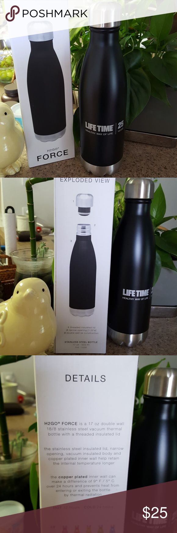 H2GO Force bottle Brand new and only taken out of box for pictures. This amazing bottle is for Lifetime Fitness members as a special membership gift. Holds 17 oz. Logo on one side. Black bottle with silver bottom and cap.  Its a double wall stainless steel vacuum thermal bottle with threaded insulated lid. Amazing addition to your daily health. Lifetime Other