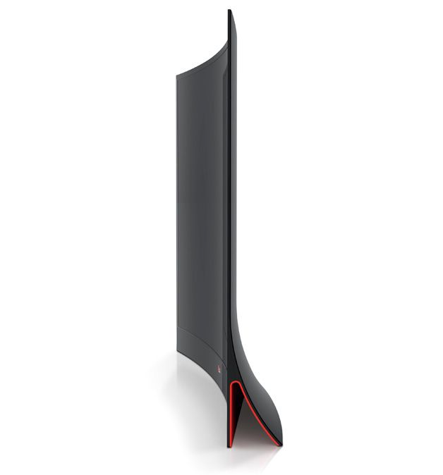 Its innovative lines give this OLED TV lightness. It exhibits a convincing minimalism. The shape of the base is ingenious in its design as the distinctive colour on the inside makes it look very modern.