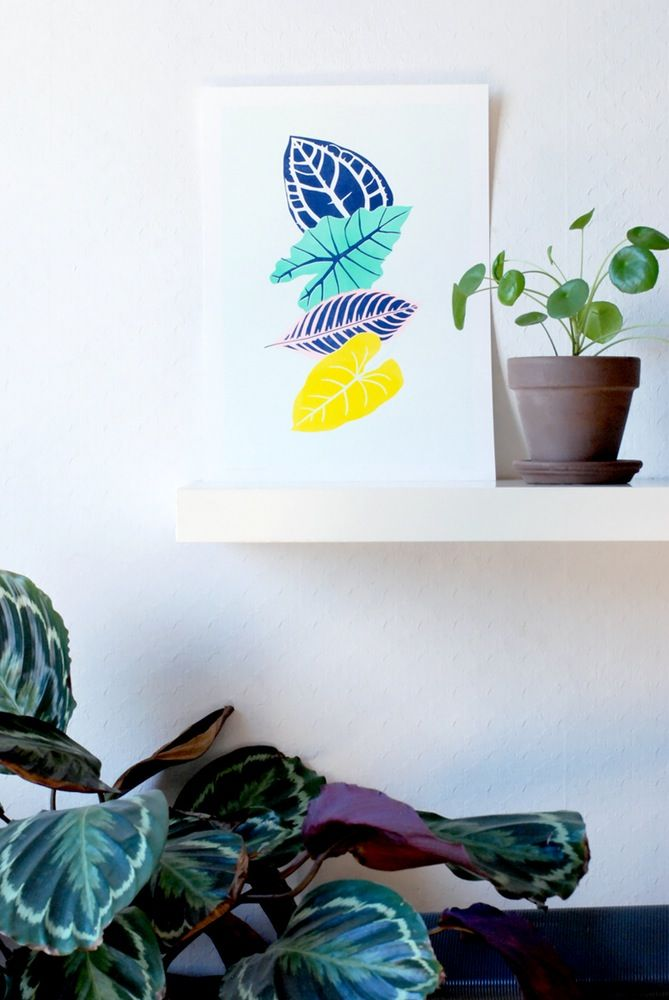 AFFICHE TROPICAL LEAVES - We are out of office #green #plants #leaf #leaves #risography #risoprint #risographie #illustration #artprint #affiche