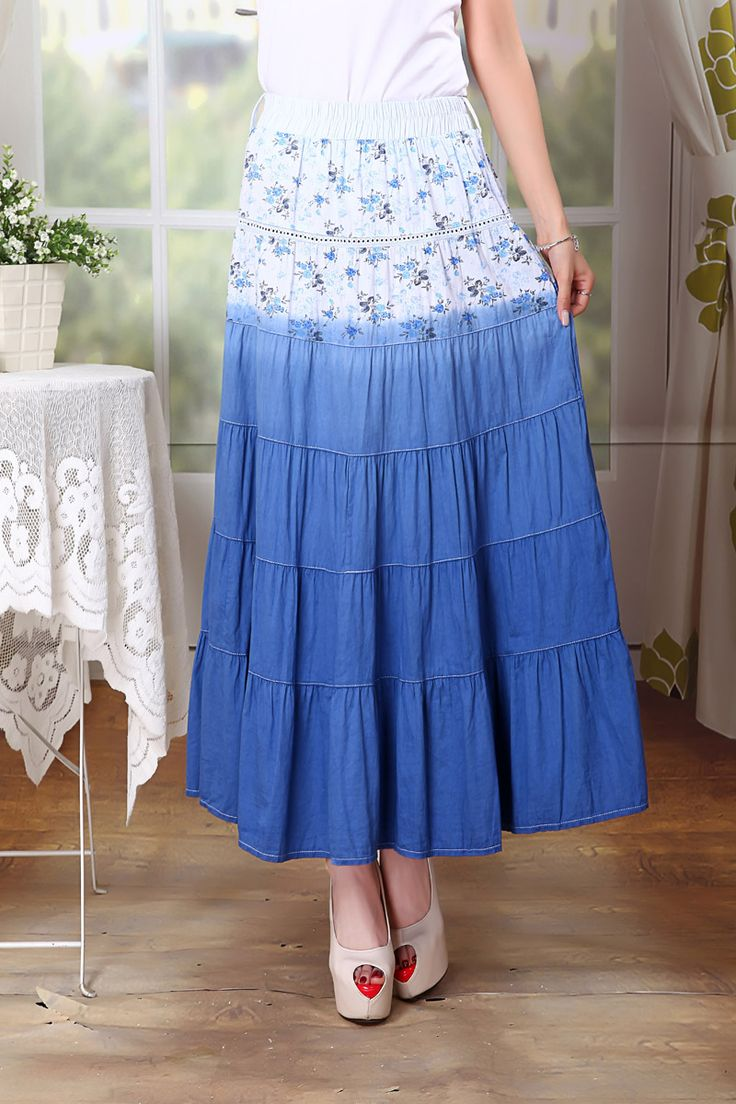 Шить мода лоскутное хлопка юбки плиссированные цветочным принтом женщин длинные хлопка юбки лето макси длина ниже хлопка юбки купить на AliExpress