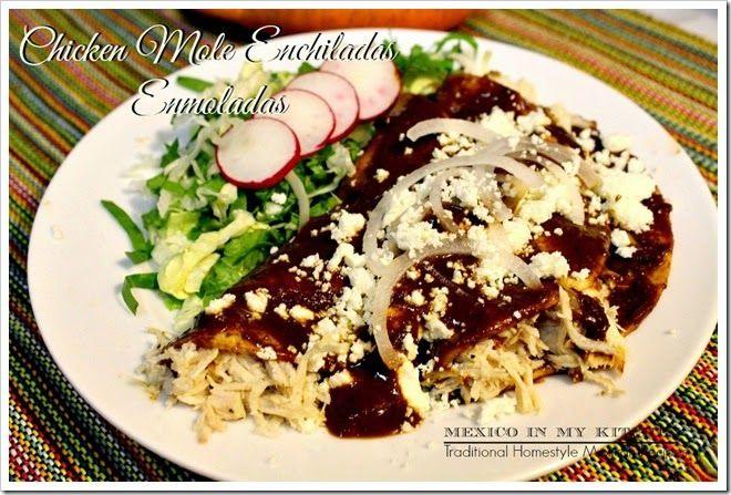 Enmoladas (chicken enchiladas with mole sauce)