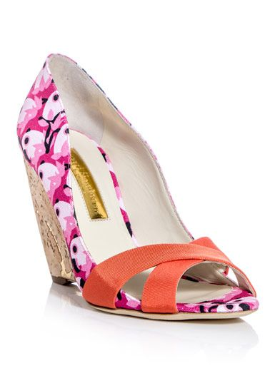 These fuchsia-pink, candy-pink, pale-pink and black parrot-print shoes have an open-toe, a coral-pink grosgrain cross-over front strap and a cork high wedge heel.