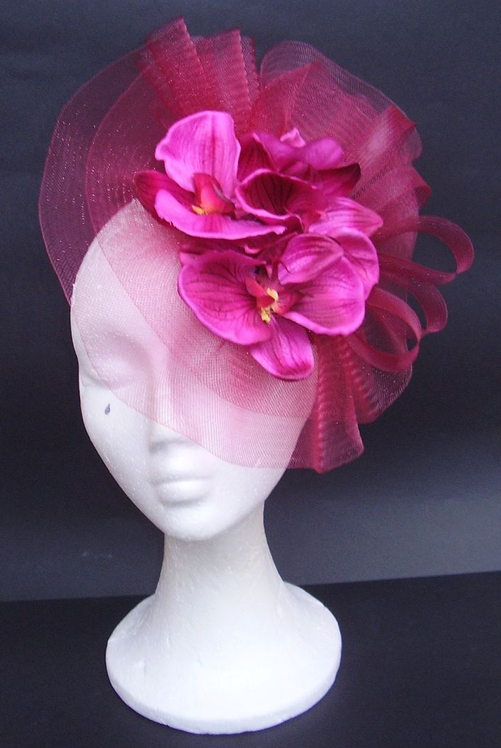Spectacular magenta floral fascinator
