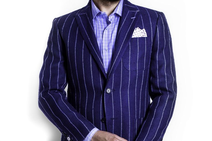 Navy Blue Stripes Blazer with Blue Cotton Trouser plus Light Blue Checkered Shirt.