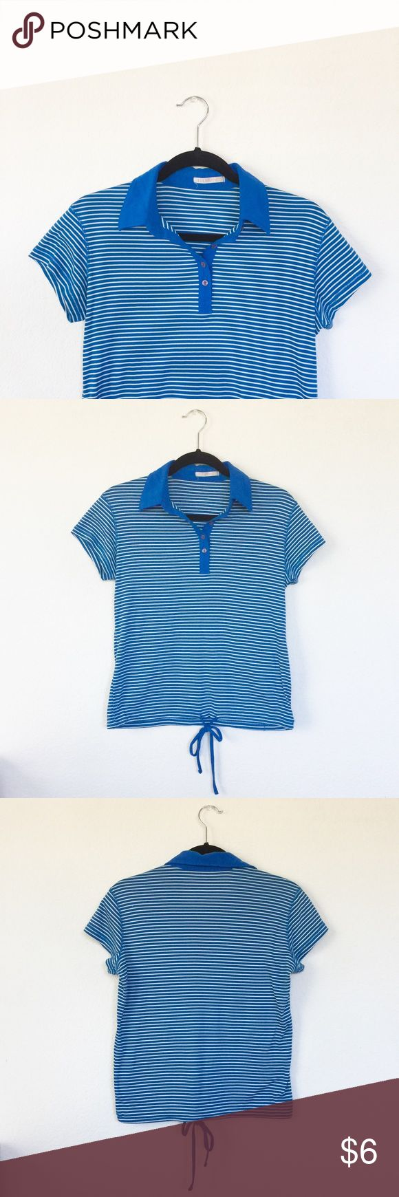 Blue and White Striped Polo w/ Tie Cute nautical blue and white striped short sleeved shirt. Drawstring at the bottom hem. Tag says size 40 (8 in US), fits M. Extra button attached to the tag! EllePlanete Tops Tees - Short Sleeve