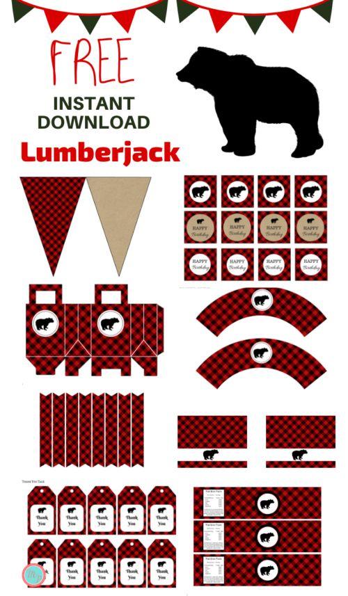Free Lumberjack Birthday Party Printable in 2020 ...