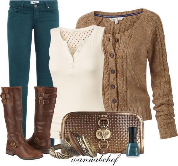 """Teal, Cream and Brown, Oh My"" by wannabchef on Polyvore"