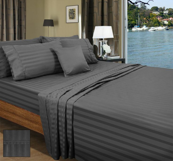 American Pima Cotton Sheet Set, 1000 Thread Count. 2cm Wide Stripe Design. Fitted Sheet with 40cm Wall, flat and Pillow Cases.