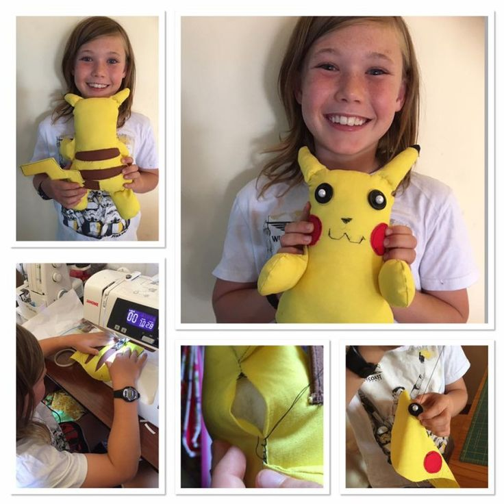 I absolutely LOVE this softie made by Tiffany's 10 year old son!  He used my Easy Softie Projects pattern and created Pikachu!  How very creative of him!  Love it!  You can read more about how he made this in the blog post over at http://www.onethimble.com.au/easy-softie-pattern-hack/