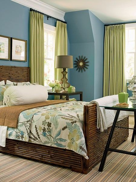 blue and green bedroom with gunstock brown. Love the lamp too just not patterns
