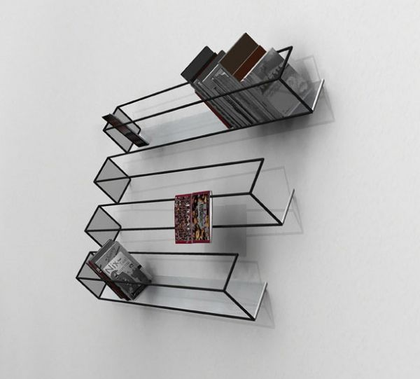 Optical illusion furniture that stands out in any décor. Illusion book shelf.