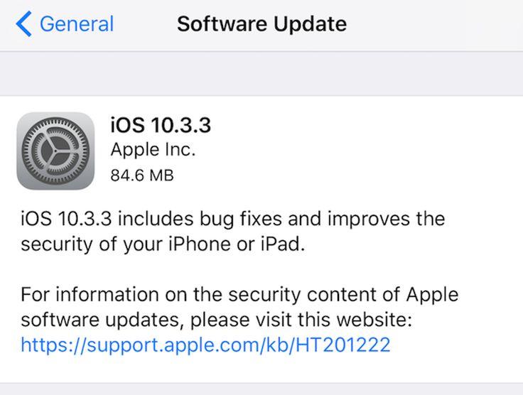 ios-actualizacion-software Apple libera nueva actualización de software iOS 10.3.3