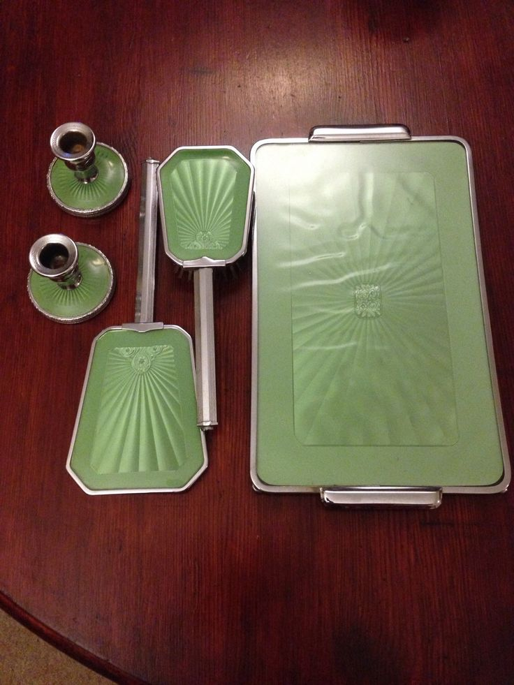 1950s Vintage Vanity Set: Vintage Dressing Table Silver and Pale Vibrant Green Brush, Mirror, Candlesticks and Tray by sthingoldsthingnew on Etsy https://www.etsy.com/listing/260307465/1950s-vintage-vanity-set-vintage