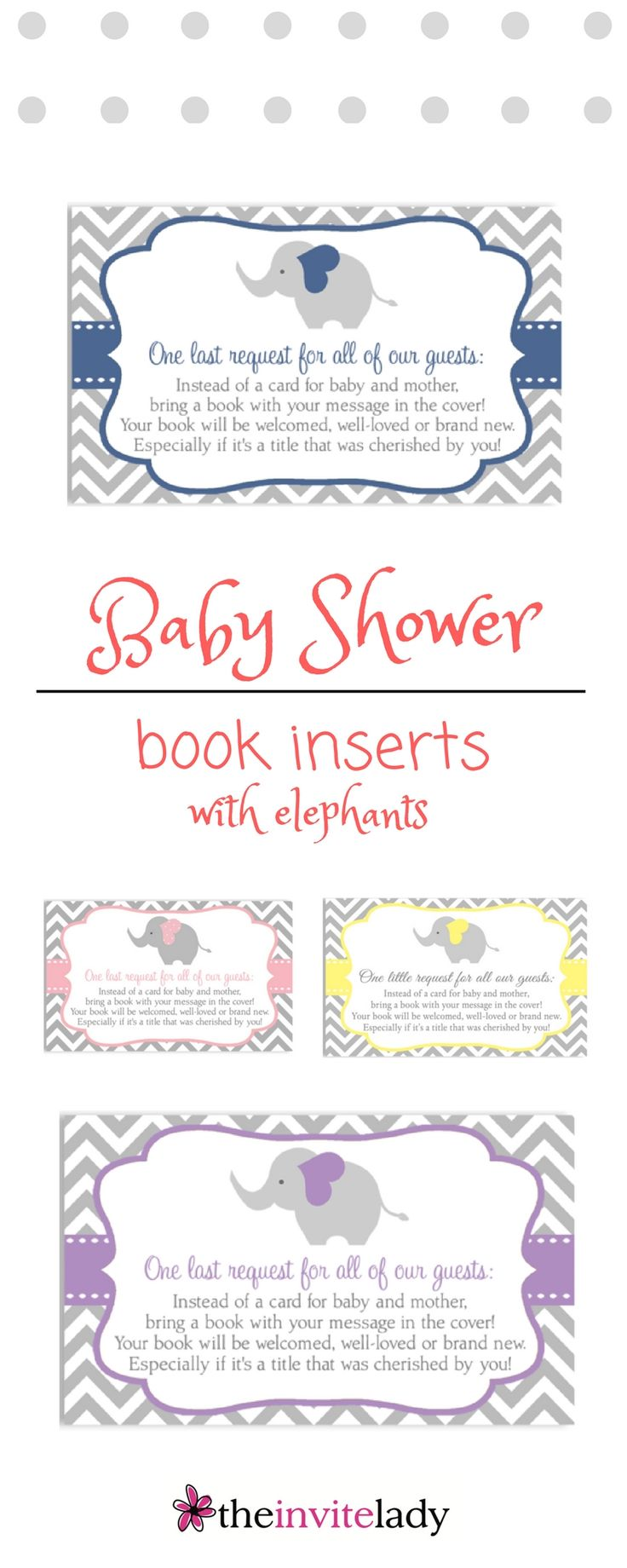 Adorable Baby Shower Book Inserts With A Chevron Print And Elephant Heart  Design. Colors Available