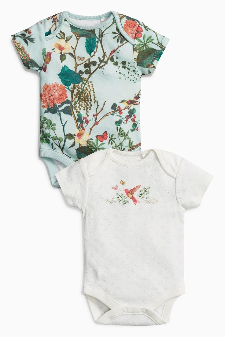 Buy Teal Garden Print Short Sleeve Bodysuits Two Pack (0mths-2yrs) from the Next UK online shop
