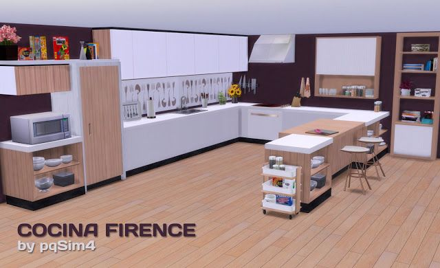 Sims 4 cc 39 s the best firence kitchen set by pqsim4 for Kitchen set sims 4