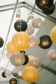 Black and gold Chinese lanterns.