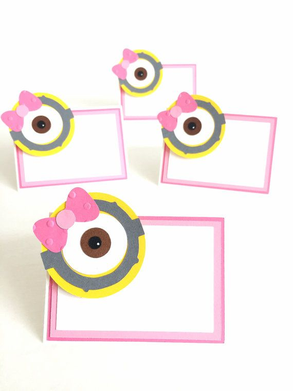 Girl Minion place cards  Set of 12  Pink Minions by pinkskyshop