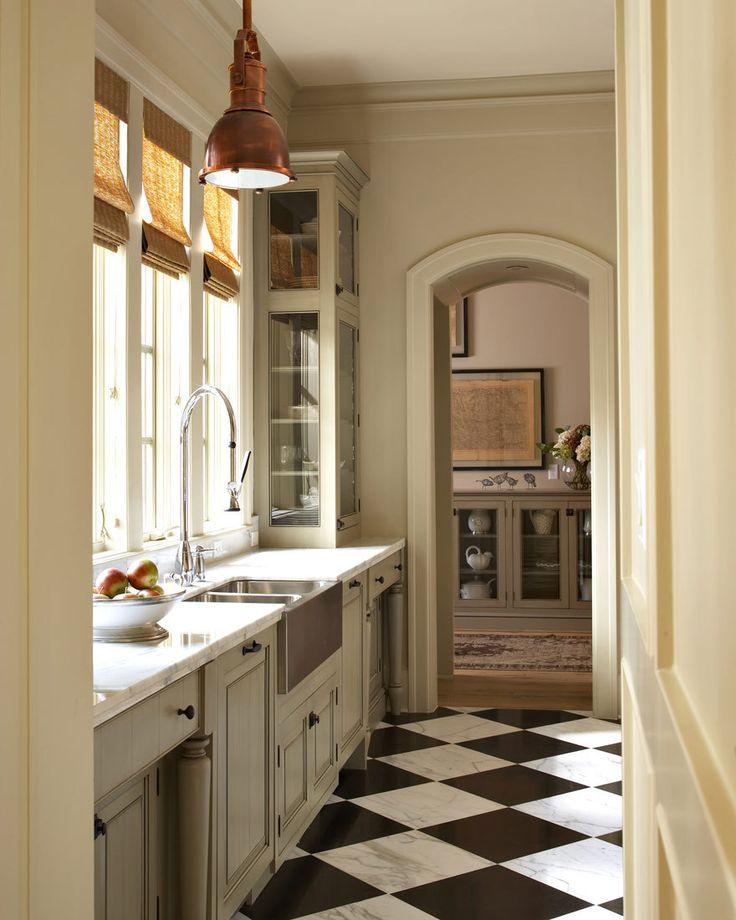 Checkered Kitchen Floor: Copper Pendant Light, Marble, Checkered Floor...