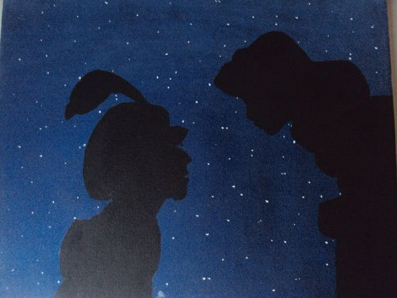 Disney aladdin canvas painting by stardustcreationz 19 for Aladdin and jasmine on carpet silhouette