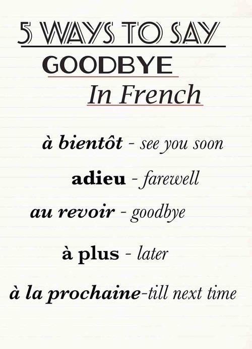 Goodbye in French