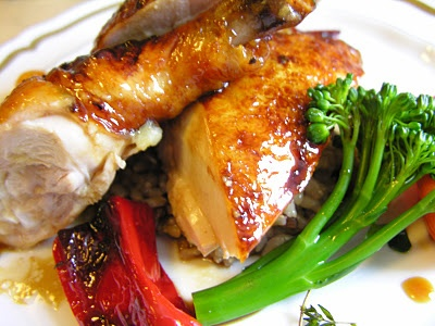 Roast Chicken with Ginger and Soy-Whiskey Glaze
