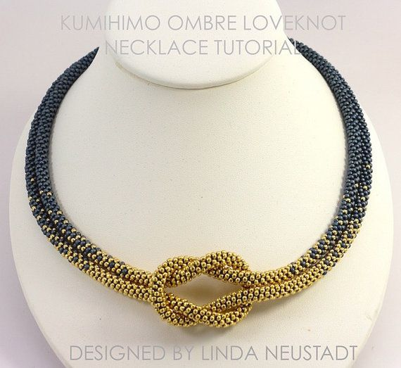 TUTORIAL ONLY  Love Knot Ombre Color Blend Kumihimo Necklace designed by Linda Neustadt
