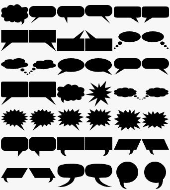 A set of free basic shapes for Photoshop and Elements with hearts, diamonds, pill shape, tree, maple leaf, dingbats, shield, musical notes, arrows, and more.: Free Custom Shapes - Speech Balloon Shapes