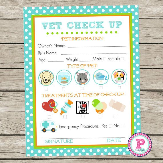 Adopt A Pet Vet Checkup Birthday Party Ideas Polka Dot Adoption Stuffed Animal Cat Kitten Puppy Pet Exam Form Veterinarian Pretend Play Fish Pet Vet Pet Adoption Party Stuffed Animal Cat