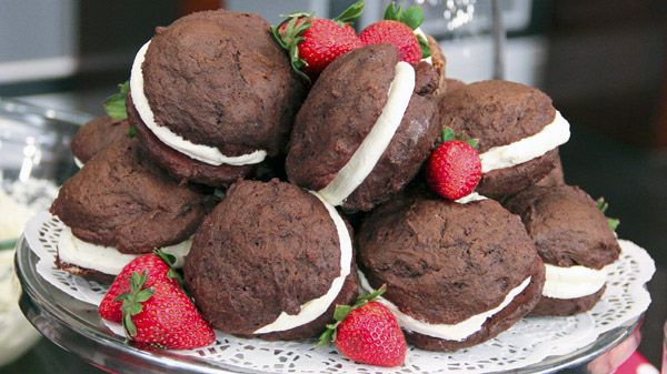 Whoopie Pies!   ...Tender, moist chocolate cake cookies sandwiched with a deliciously retro marshmallow fluff frosting