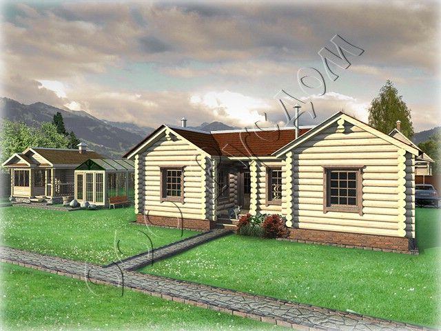 """Проект деревянного одноэтажного дома """"Метелица-1"""" с каминным залом, тремя спальнями для хозяев и топочной Подробнее: http://www.rusdom.ru/projects-houses/metel/"""