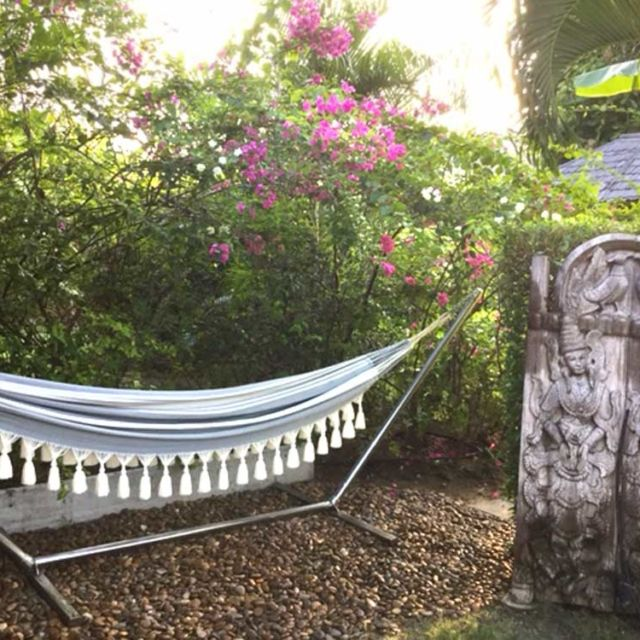 Getting an indoor hammock will create an oasis at home, a space to relax and enjoy, a happy corner that can be glamorous or bohemian.This picture is sent by our customer who lives in Bali.