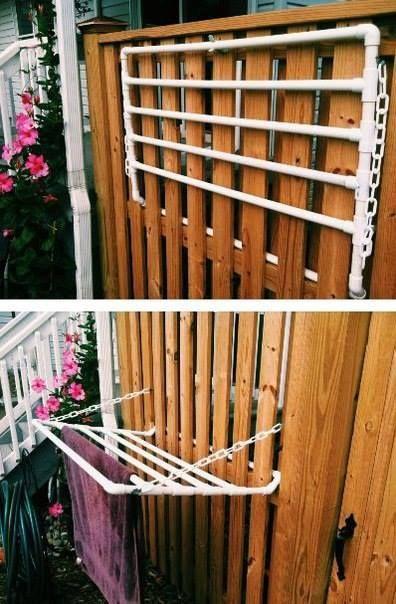 Outdoor towel rack for pool or sprinklers
