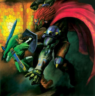 Adult Link and Ganondorf - The Legend of Zelda: Ocarina of Time; Official artwork for the game