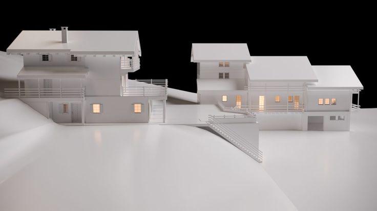Chalet Barmaz Architecture Verbier Ski Alps 3D Printing Architecture 3D White Model Render #architecture #projet #chalet #maquette #noiretblanc
