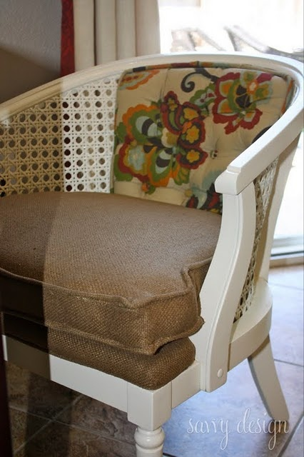 How to re-upholster a cane carrel chair via savvydesignwest.  Need to do this!