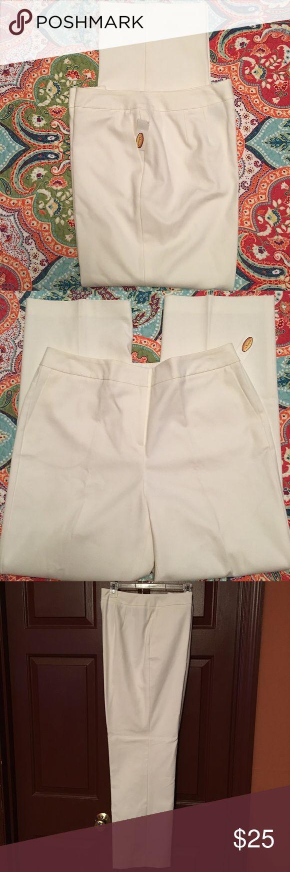 "Talbots White Dress Pants NWT, Size 14, white dress pants, lined, length 31"", stretch Talbots Pants Trousers"