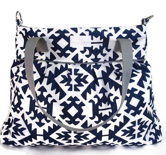 Navy Aztec Large Diaper Bag - Nappy Bag - Stroller Bag - Diaper Bags - Baby Changing Bag - Tote Bag