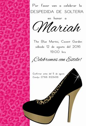 """Despedida De Soltera Elegante""  printable invitation template. Customize, add text and photos. Print or download for free!"
