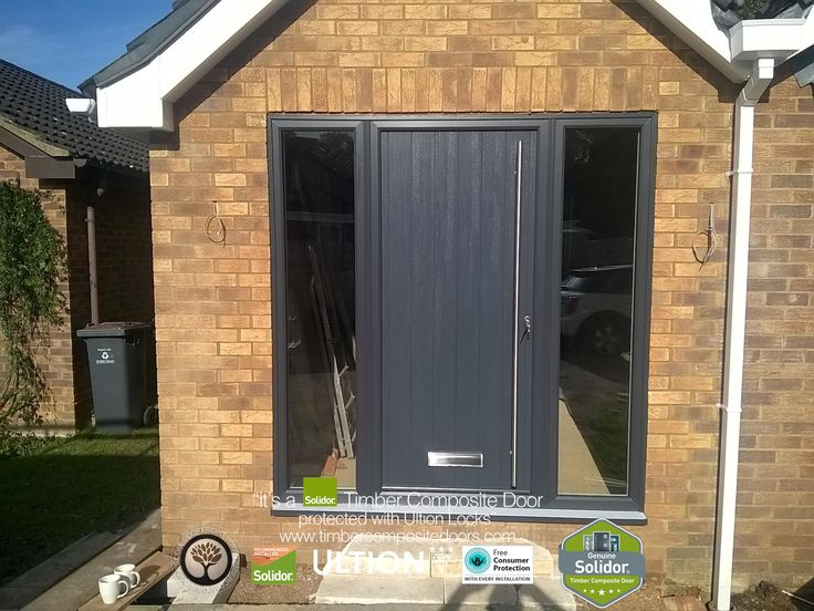 Anthracite Grey Ancona Solid with Side Panels Solidor Timber Composite Door