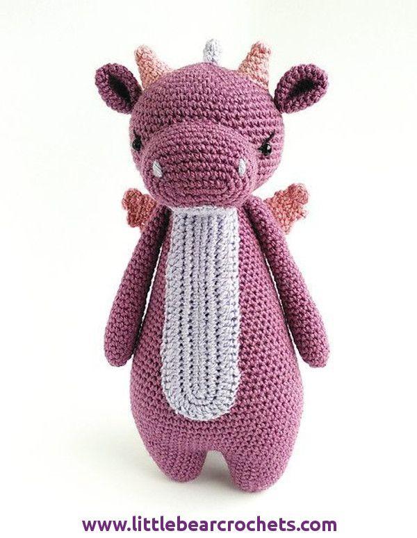 Dennis The Dragon - Amigurumi Toy Pattern | Stuffed toys patterns ... | 775x600