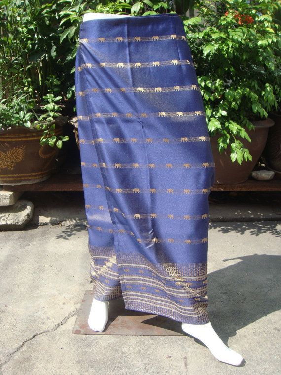 Blue Long Skirt Silk Thai Tradition Cotton Woman Sarong Wrap Tie Waist (d749)
